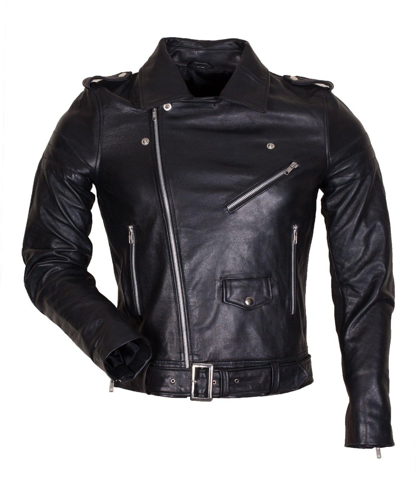 Marlon Brando Belted Jacket in Genuine Leather