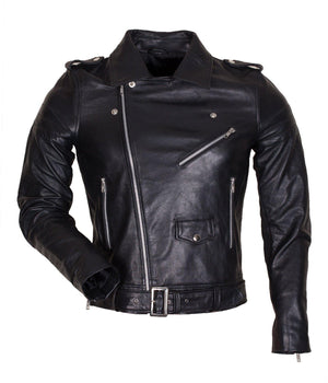 Black Marlon Brando Belted Jacket