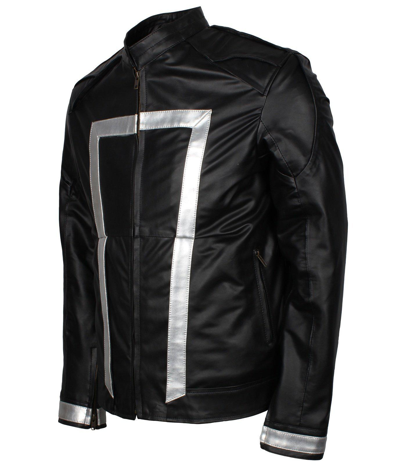 ghost rider faux leather jacket
