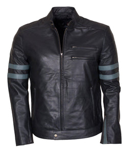 Grey Striped Leather Jacket for Men