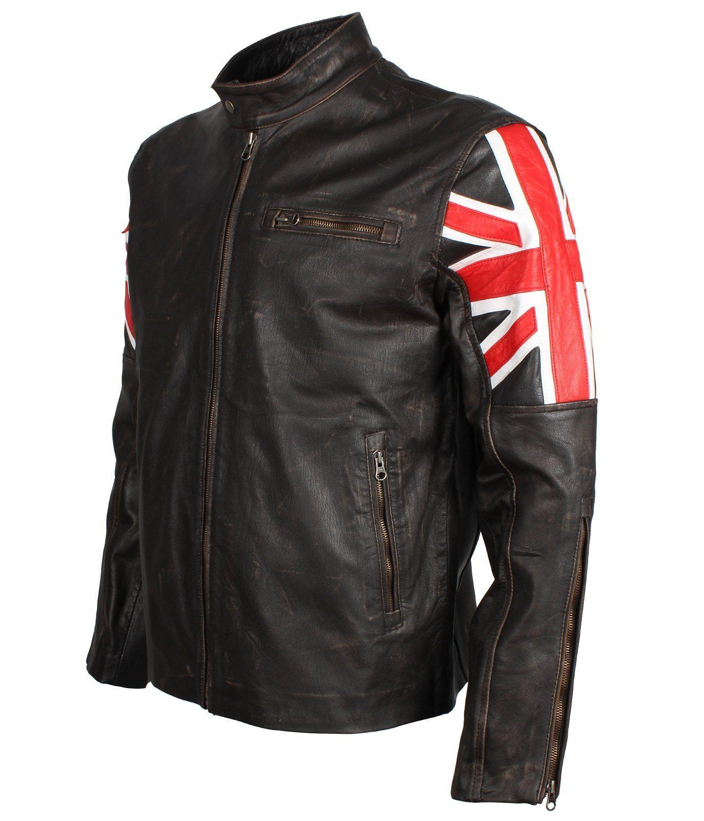 Men's Union Jack Jacket in Distressed Leather