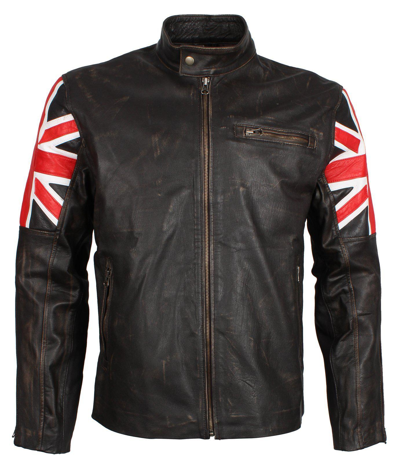 Union Jack British Flag Jacket in Distressed Leather