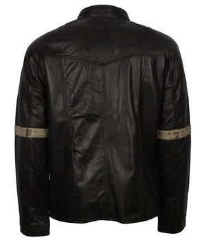Black Leather Bikers Vintage Jacket for Men