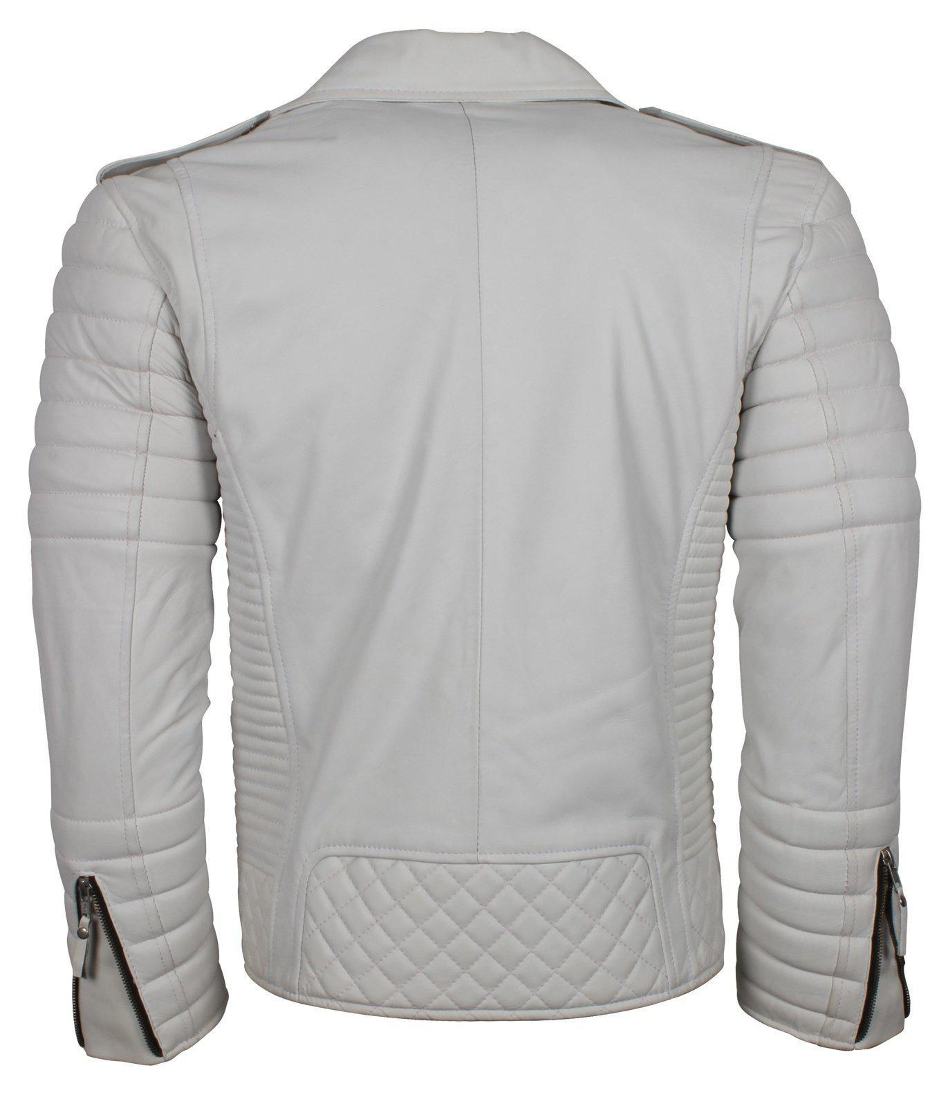 White Leather Jacket for Bikers