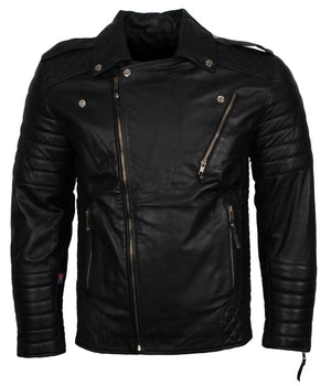 Padded Black Leather Jacket for Motorcycle Enthusiast