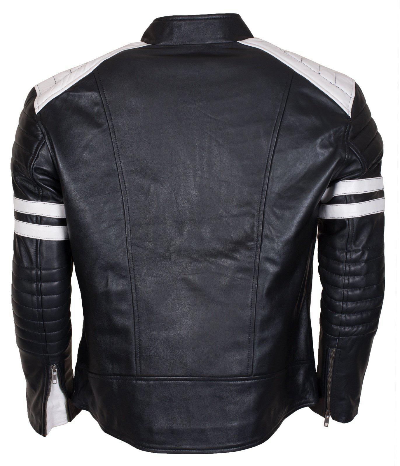 Black Mens Motorcycle Padded 2020 Leather Jacket