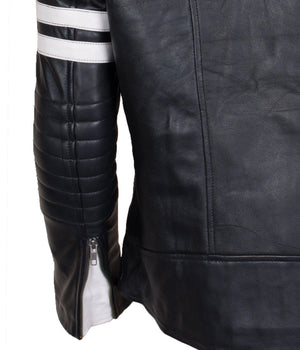 Biker Leather Padded Black and White Jacket