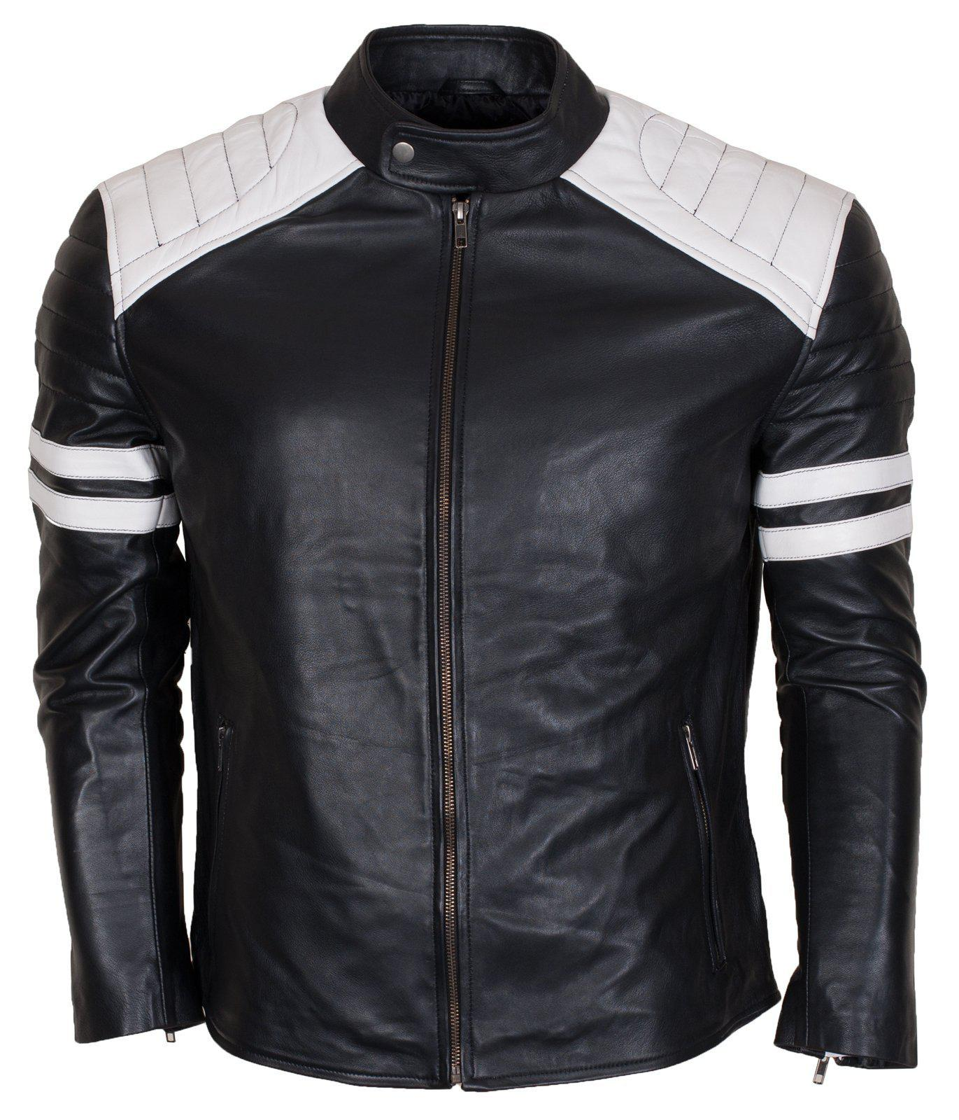 Black Cowhide Leather Padded Shoulders Moto Jacket