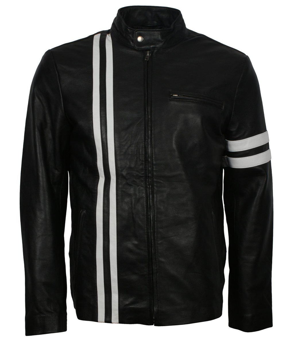 SF Leather Jacket with White Stripes