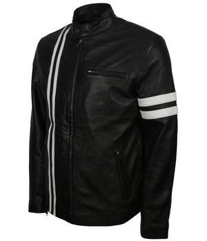 San Francisco Leather Jacket with White Strips