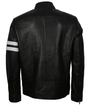 Driver San Francisco Leather Jacket with White Stripes
