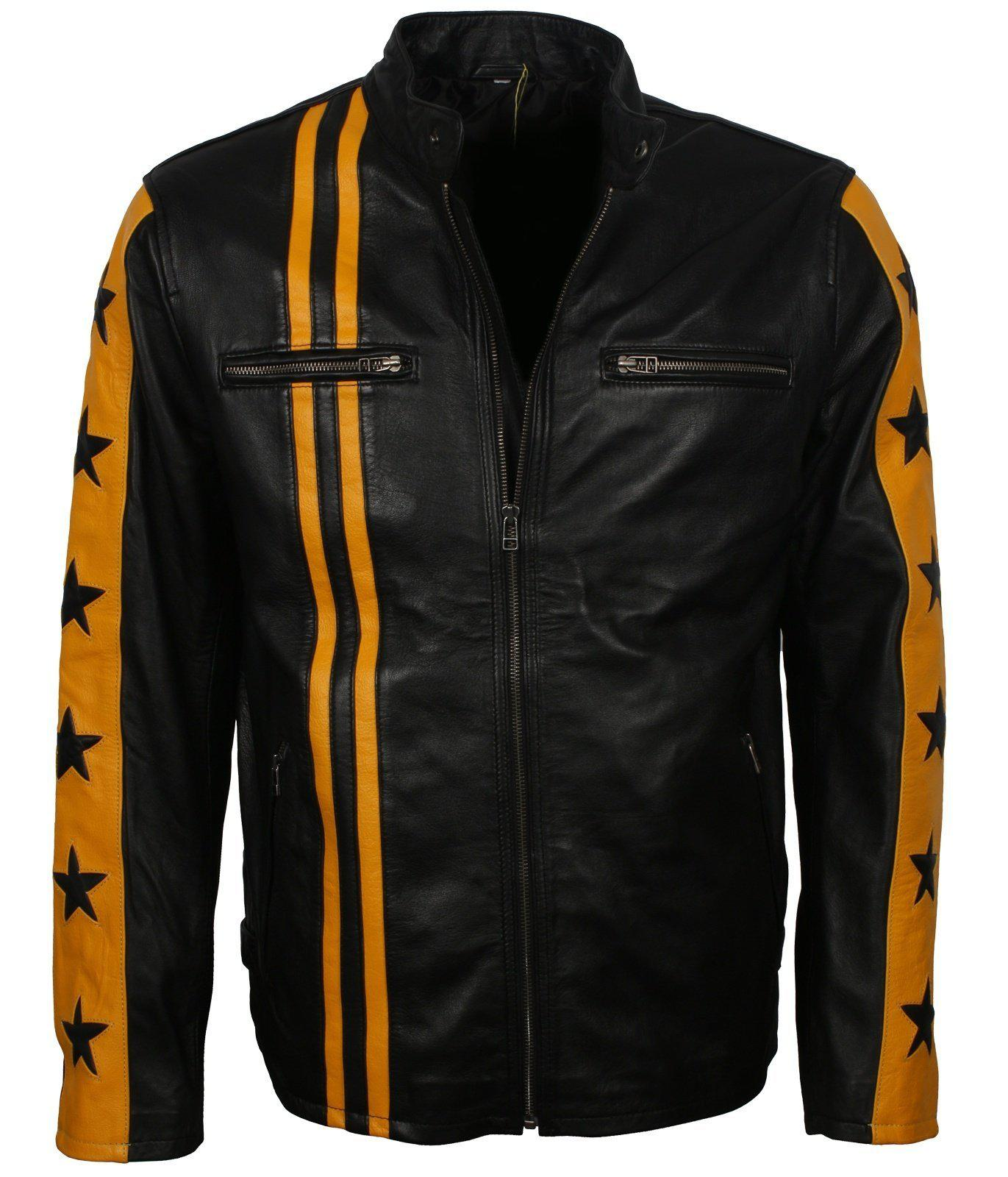 Star and Stripes Leather Motorcycle Jacket