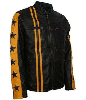 Stars and Stripes Black and Yellow Biker Jacket