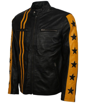 Yellow and Black Leather Jacket with Stars and Stripes