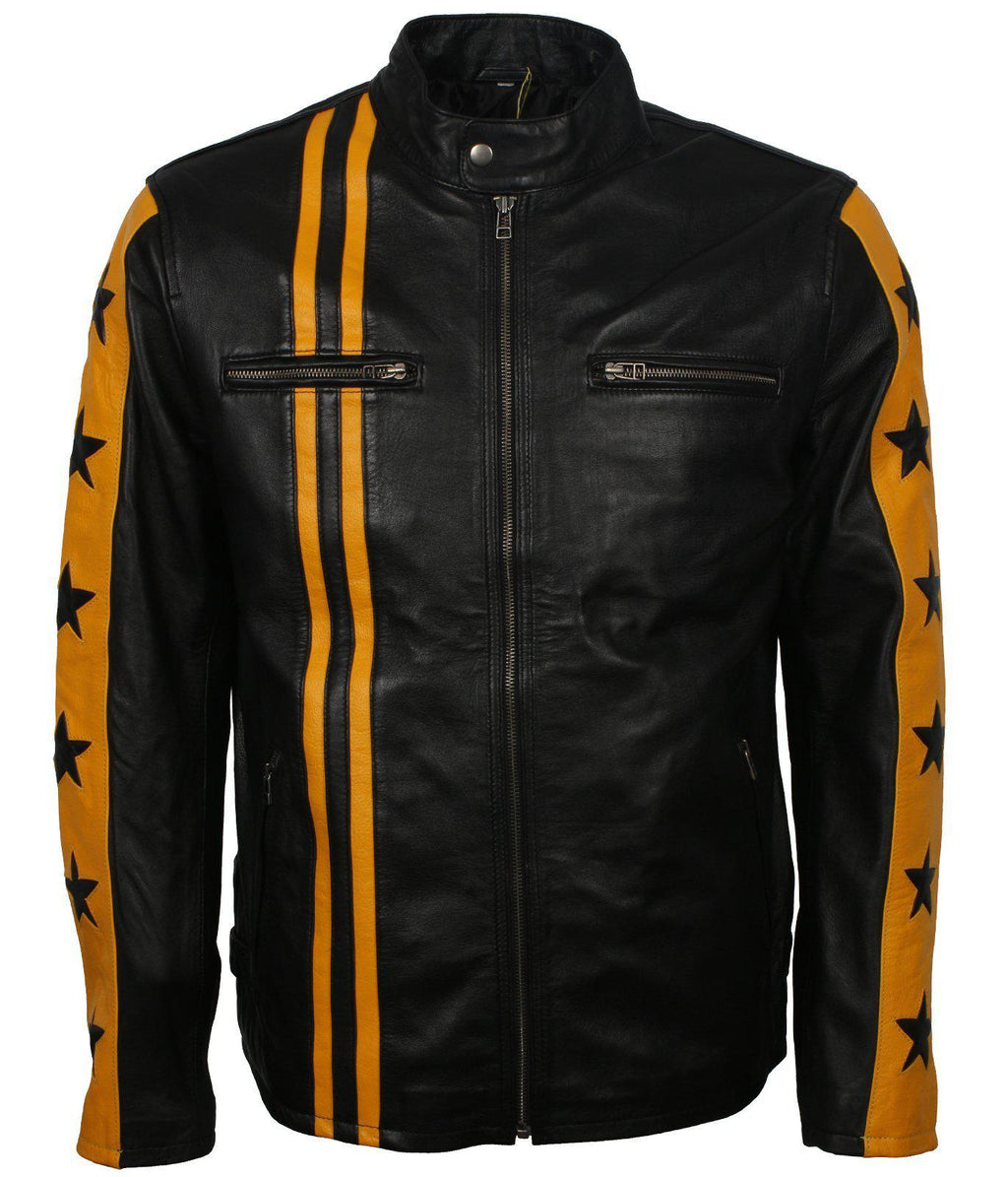 Black and Yellow Leather Jacket with Stars and Stripes