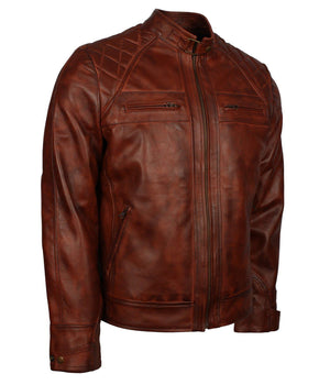 Brown Cafe Racer Distressed Leather Jacket