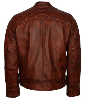 Brown Diamond Quilted Bikers Leather Jacket