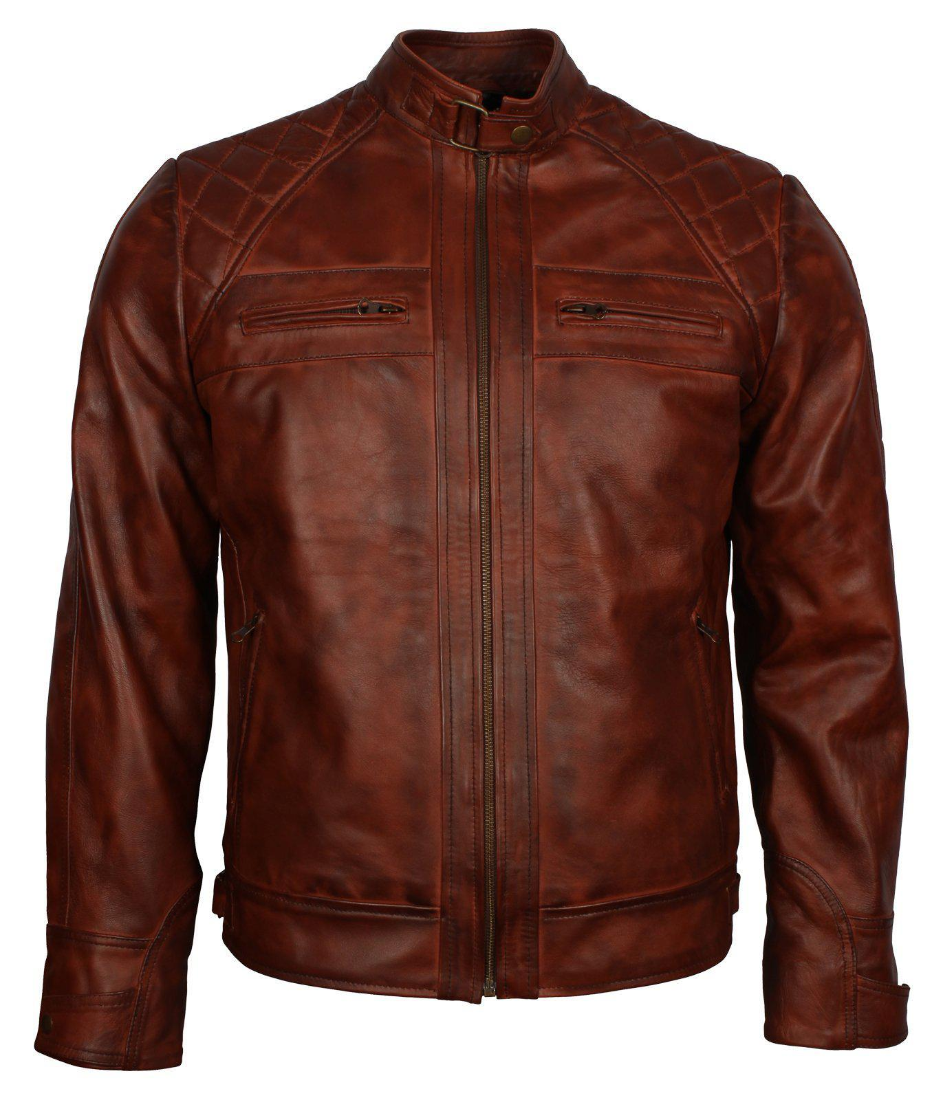Cafe Racer Men's Brown Leather Jacket Diamond Quilted