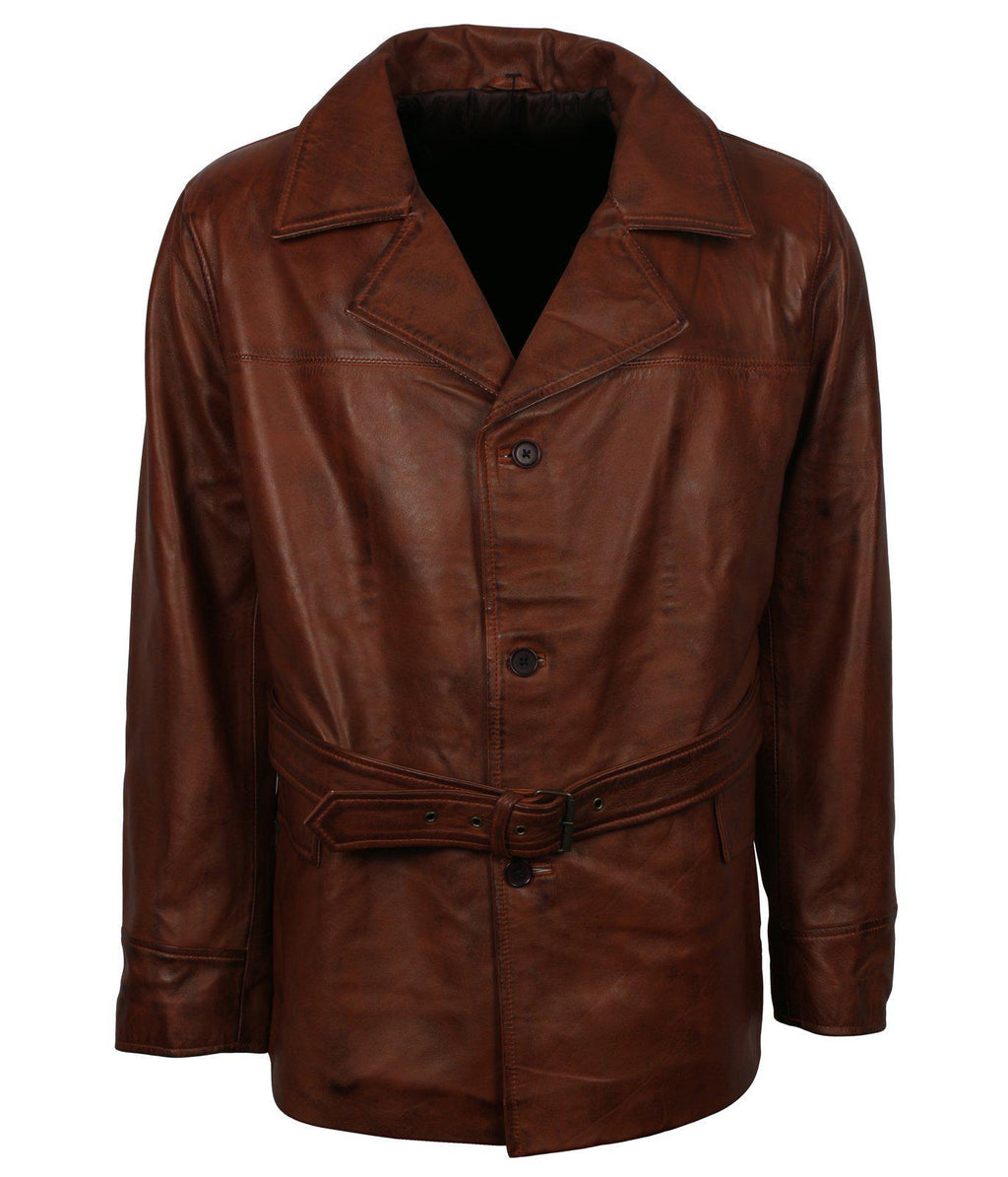 Brown Leather Trench Coat with Belt
