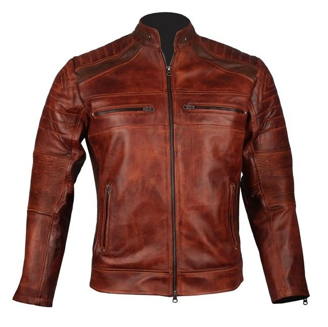 Brown Cafe Racer Motorcycle Biker Leather Jacket
