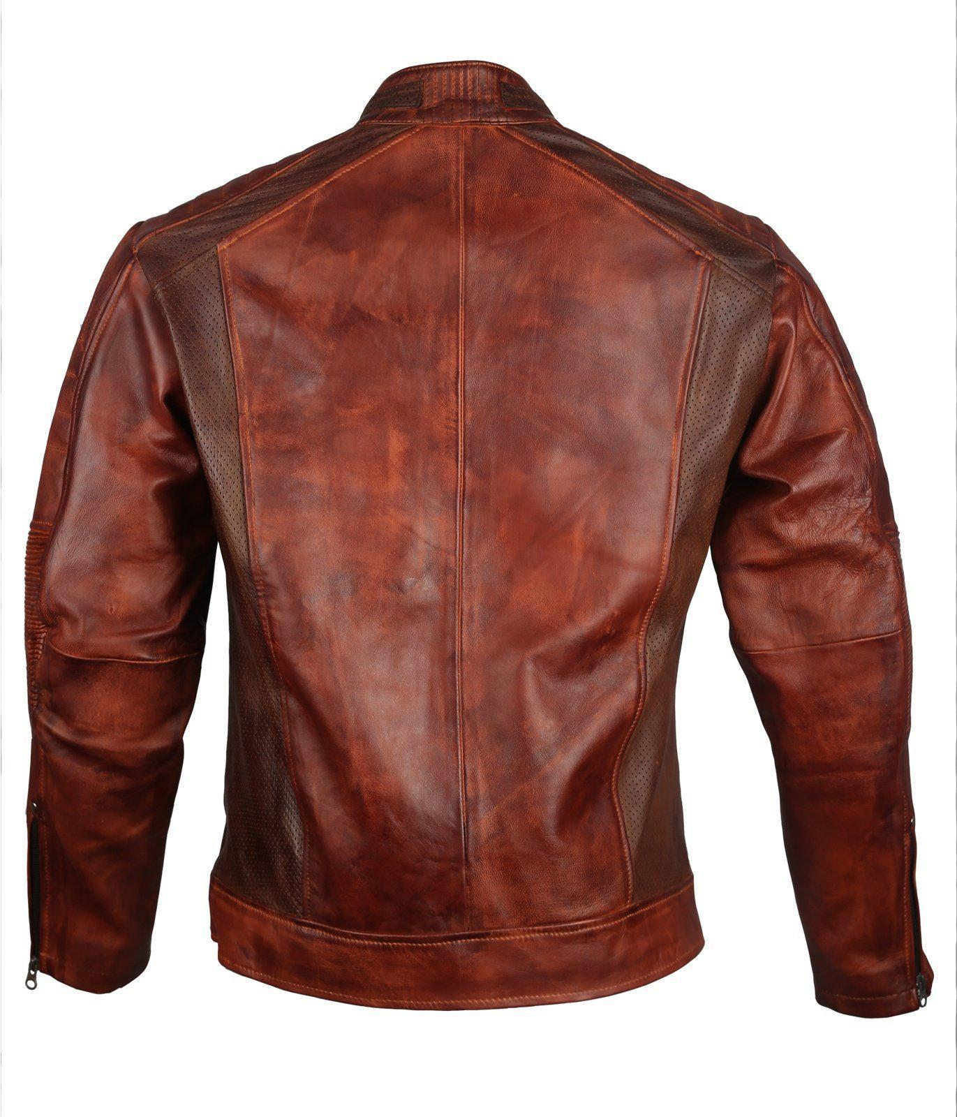 Waxed Cafe Racer Leather Jacket