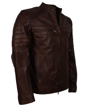 Mens Dark Brown Leather Jacket for Motorcycle Riders