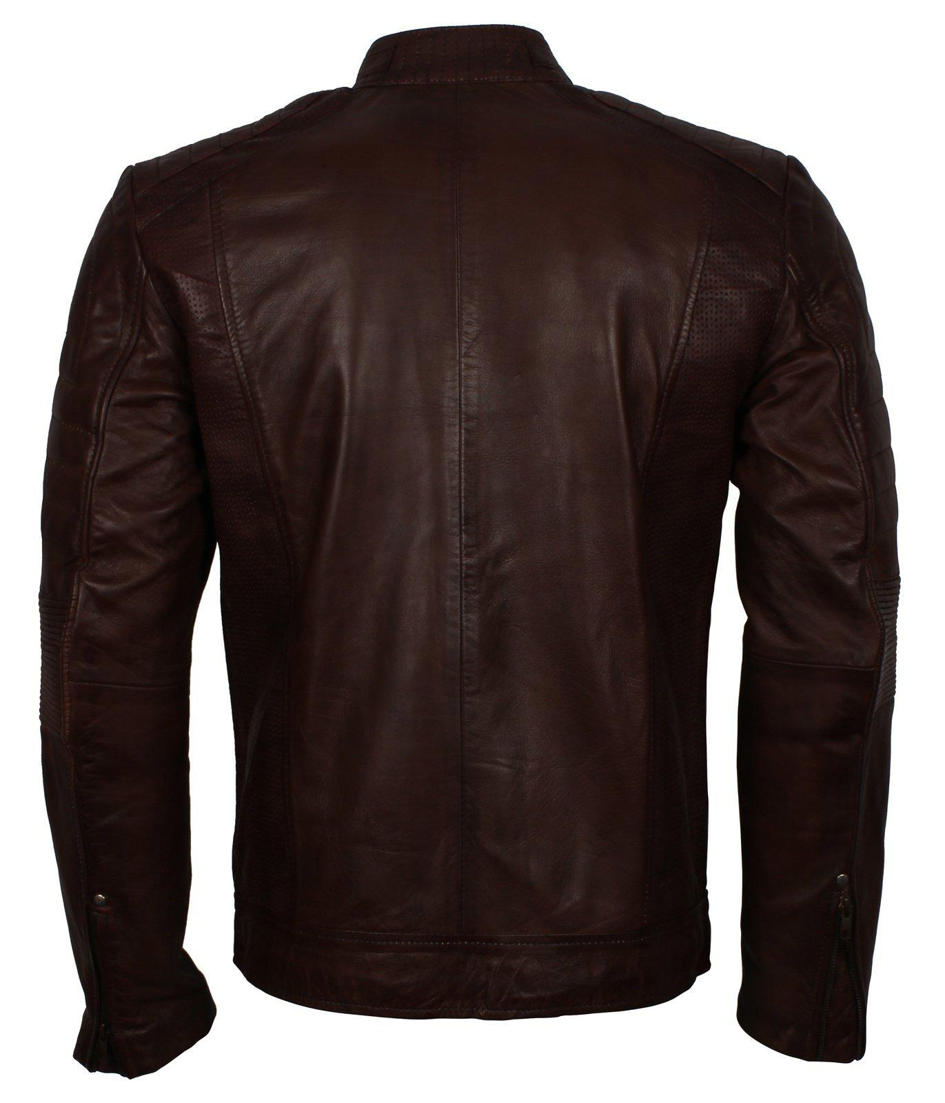 Dark Brown Cafe Racer Genuine Leather Jacket