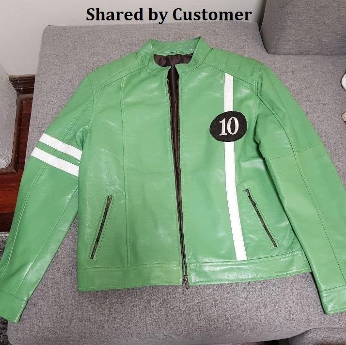 Men's Green Ben 10 High Quality Genuine Leather Jacket