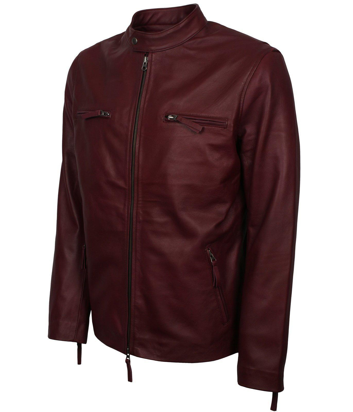 Maroon Leather Motorcycle Jacket