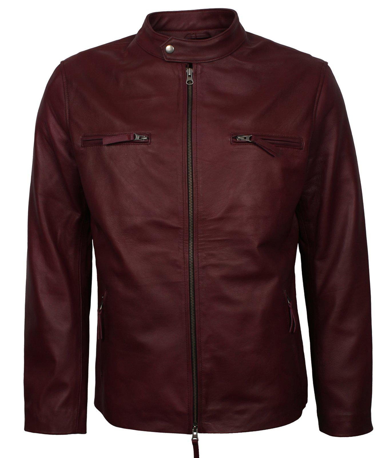 Maroon PU Faux Leather Jacket