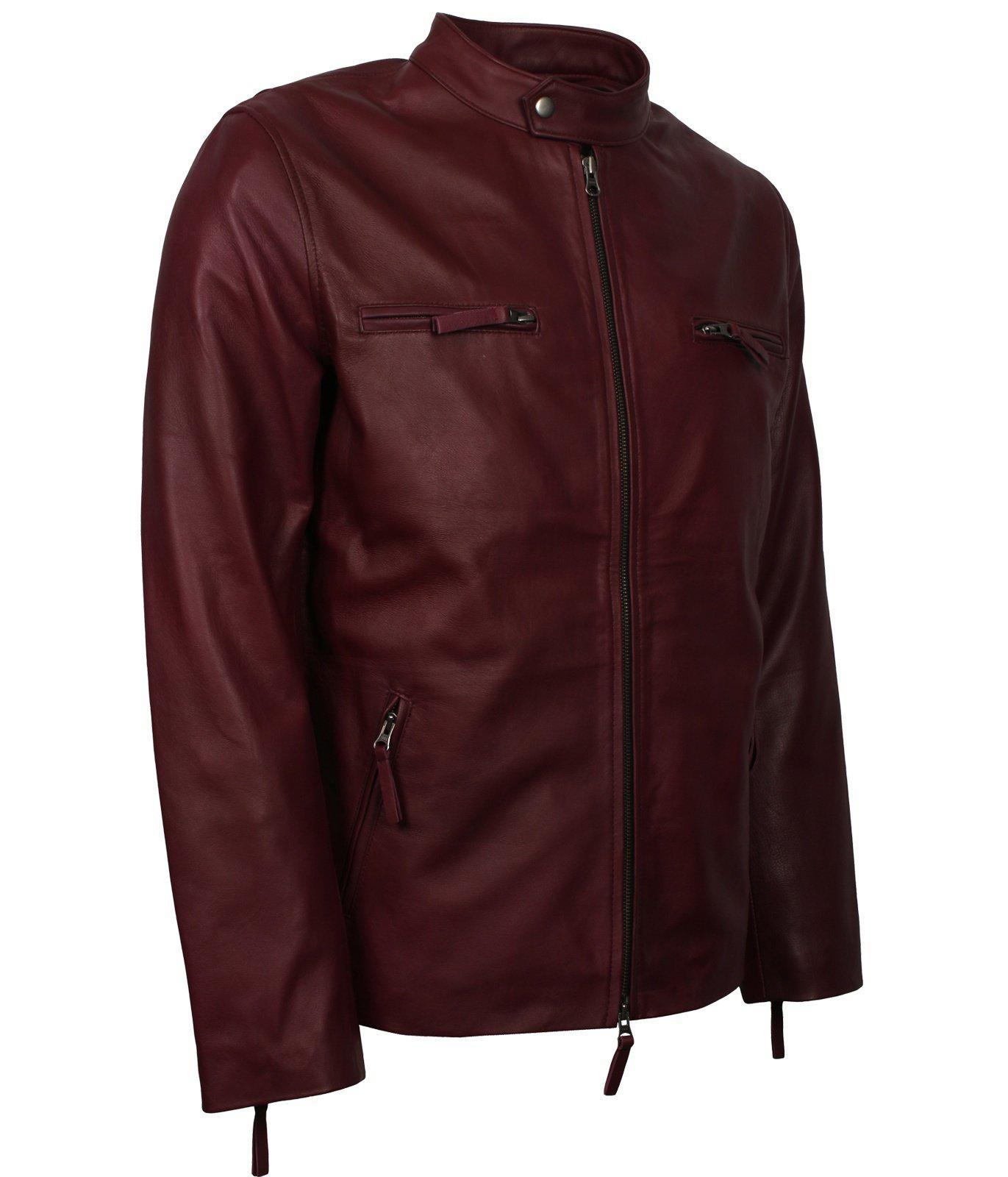 MAROON LEATHER JACKET MEN