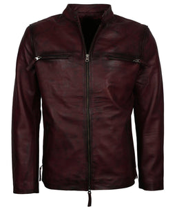 Dark Maroon Casual Motorcycle Jacket