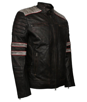 Black Moto Leather Jacket with red stripes