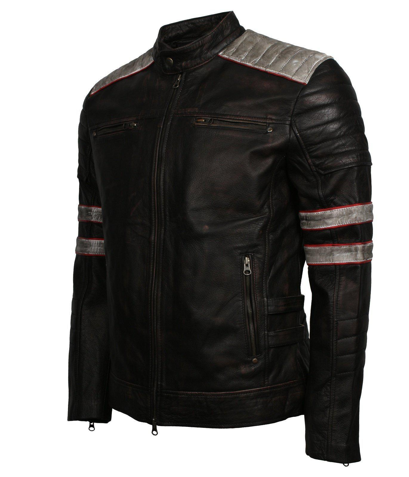 Distressed Leather Biker Jacket Men in Black