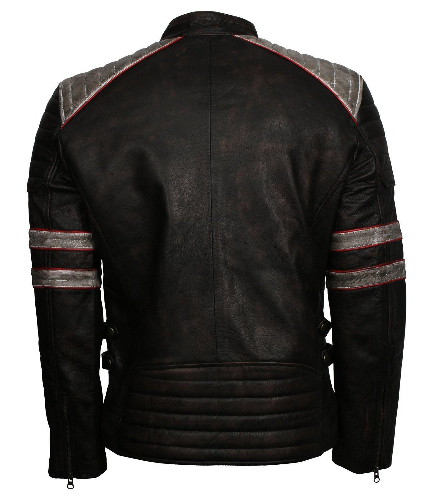 Distressed Padded Biker Leather Jacket Men