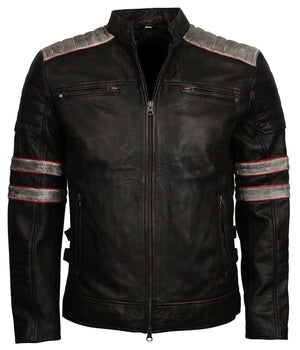Black Leather Biker Jacket Men with stripes