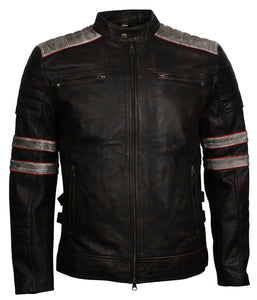 Distressed Leather Jacket Black with White stripes