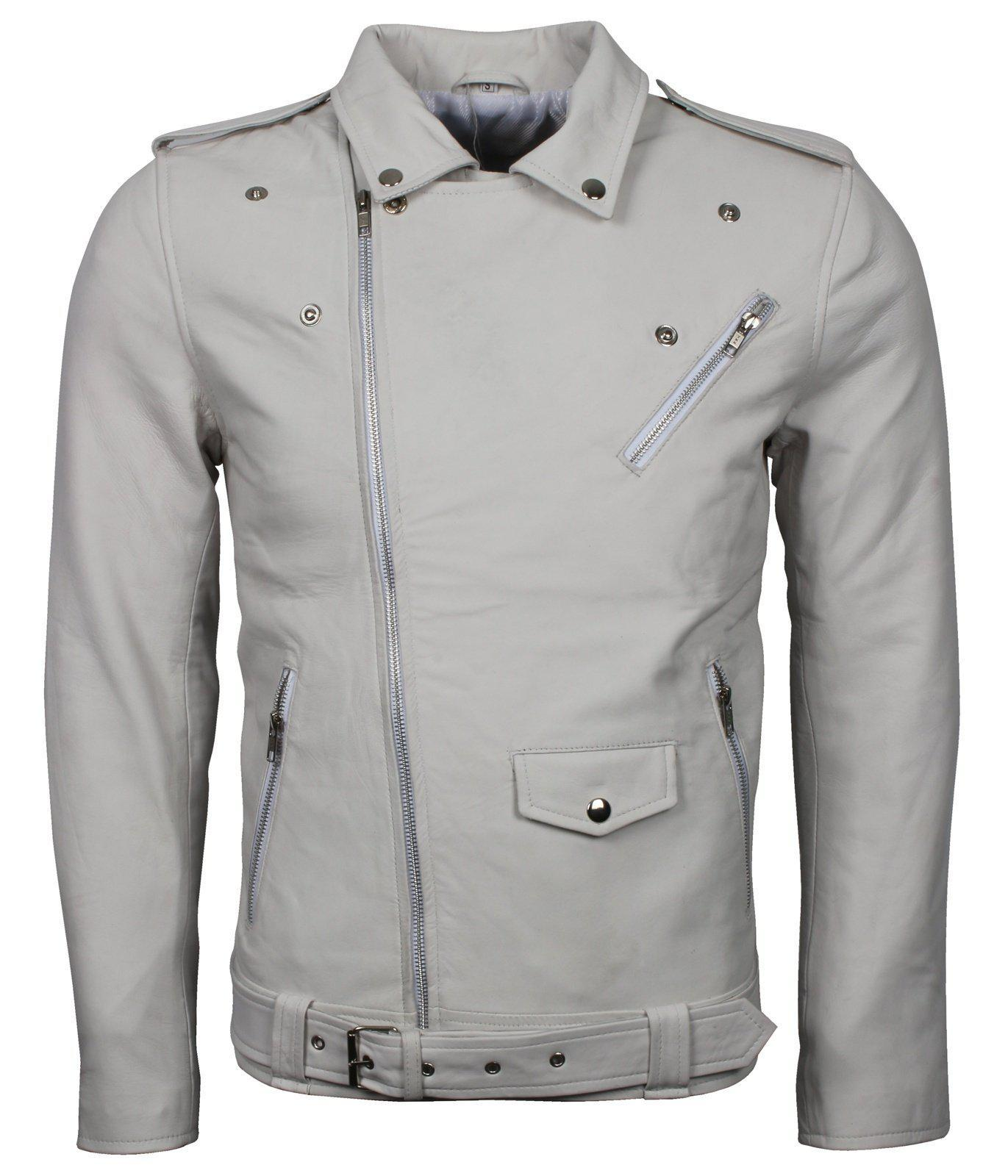 White Motorcycle Leather Jacket