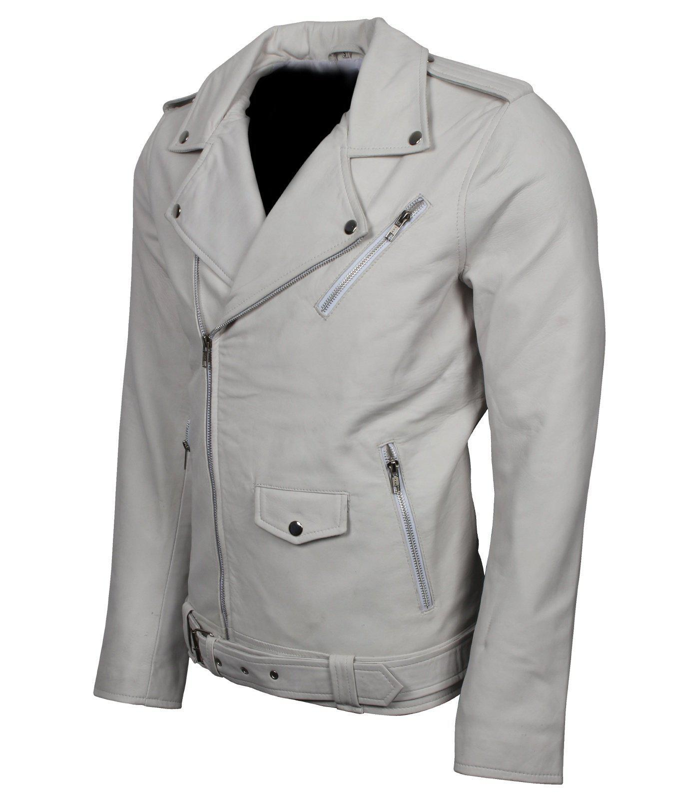 White Genuine Leather blouson moto