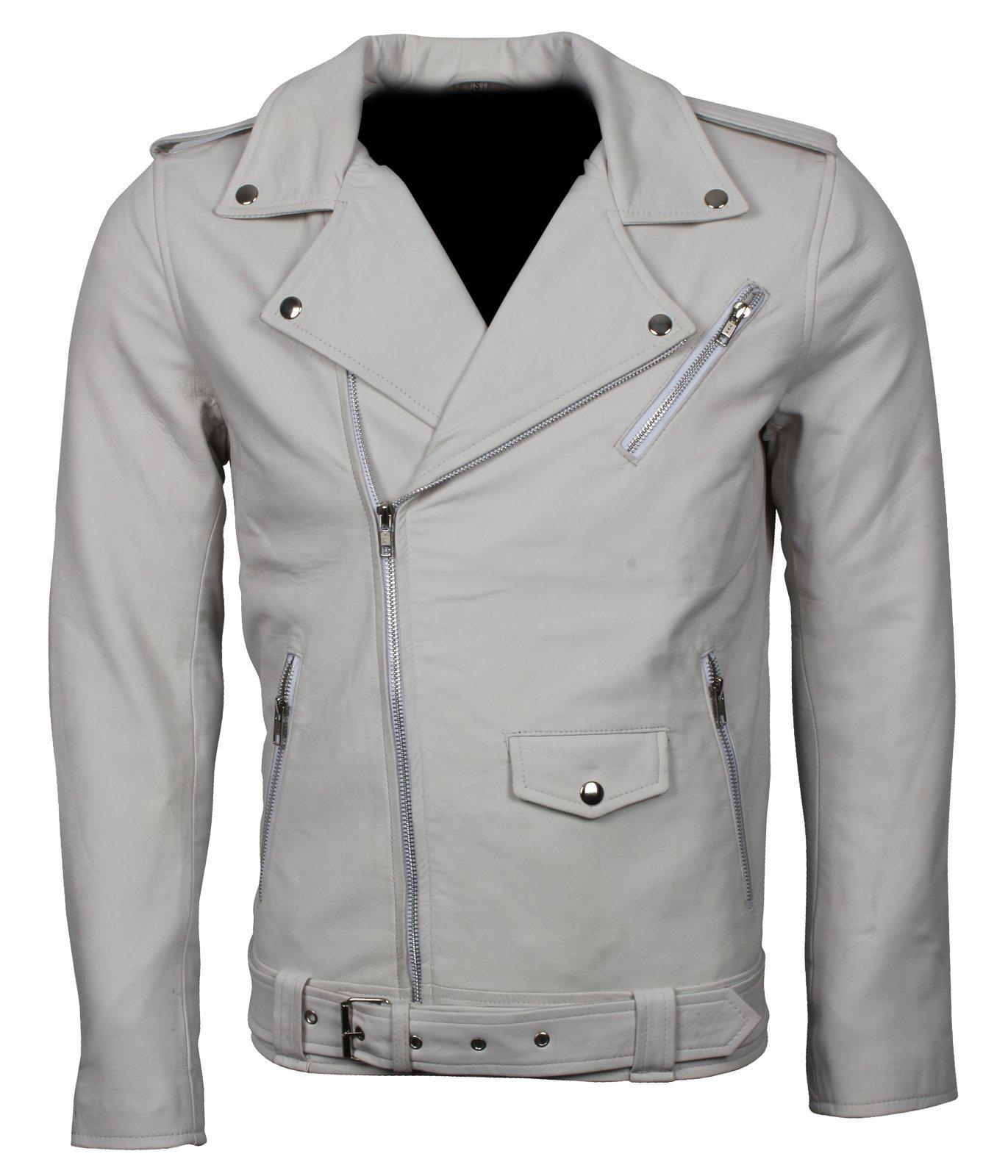 White Leather Biker Motorcycle Jacket