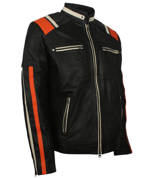 Mens Vintage Motorcycle Jacket With Stripes