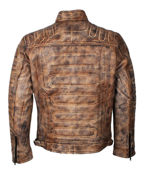 Mens Distressed Padded Leather Jacket