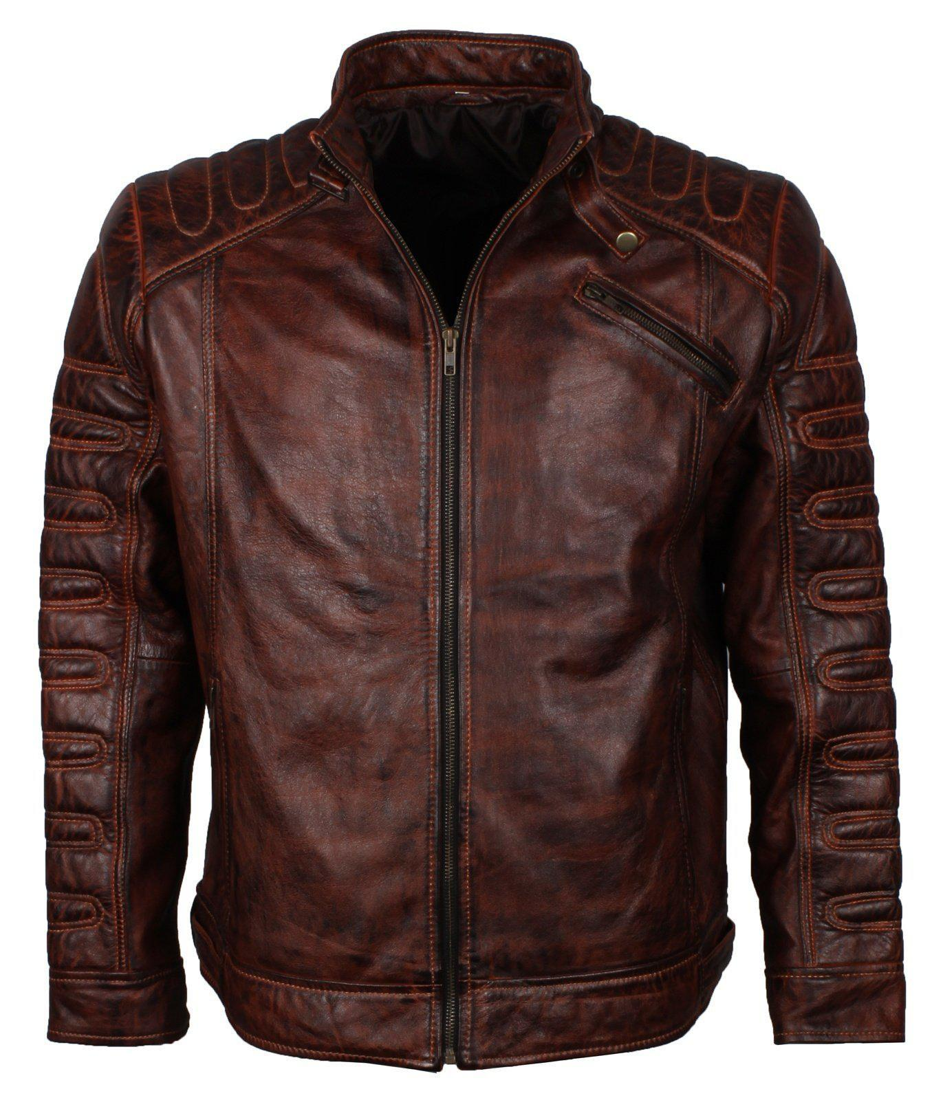 Dark Brown Waxed Leather Biker Jacket