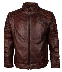 Dark Padded Motorcycle Motocross Leather Jacket