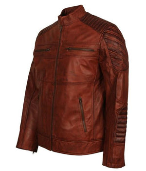 Men's Brown Biker Lightweight Leather Jacket