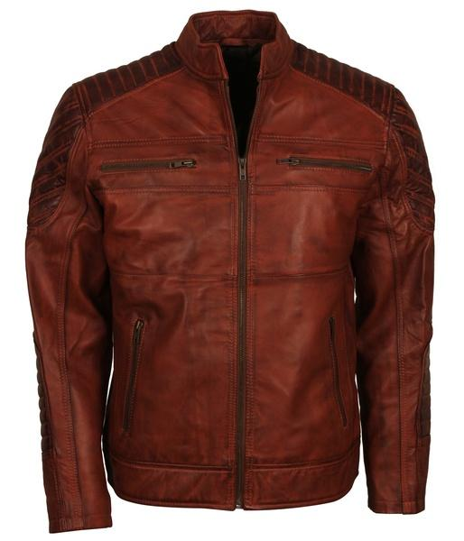 Mens Brown Leather Jacket for Bikers in Leather