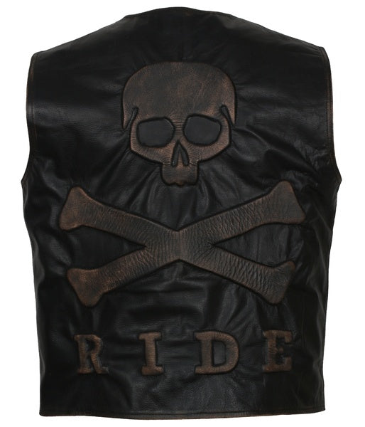 Skull and Crossbones Motorcycle Leather Vest