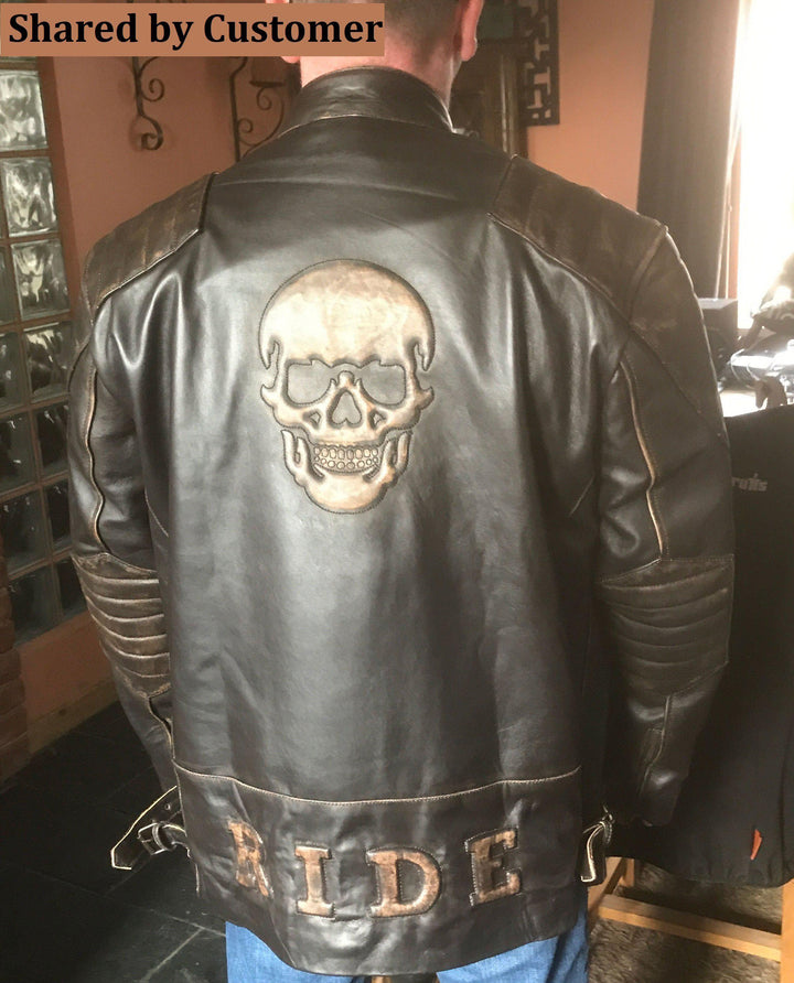 Black Leather Moto Skull Embossed Outfit Genuine Leather Jacket