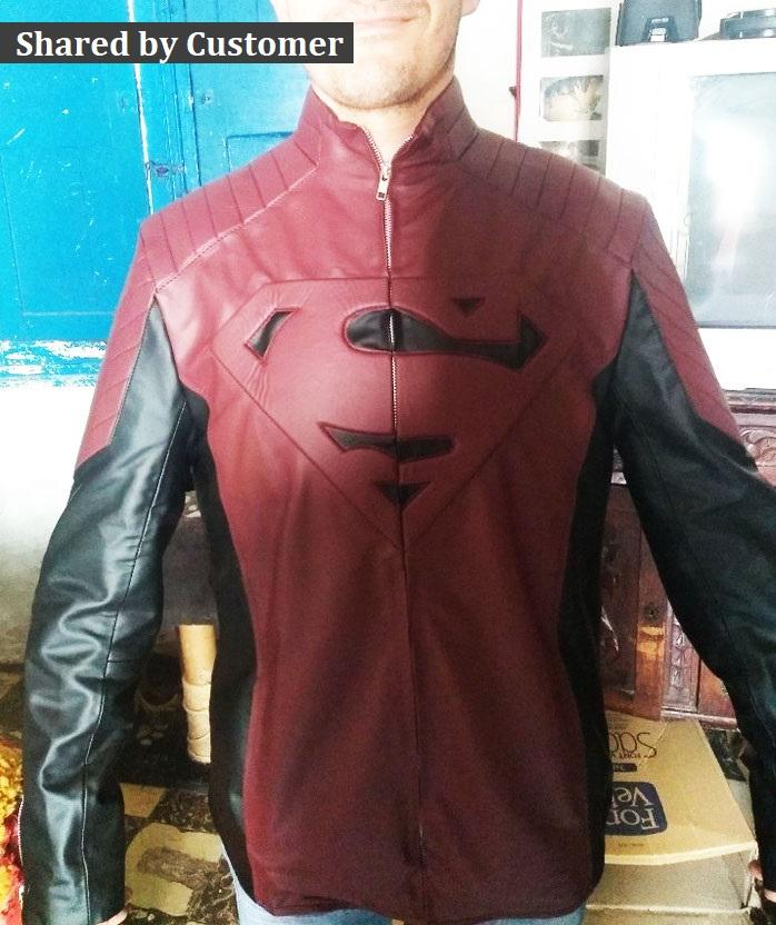 Men's Red Black Smallville Tom Welling Clark Kent Superman Cosplay Leather Jacket
