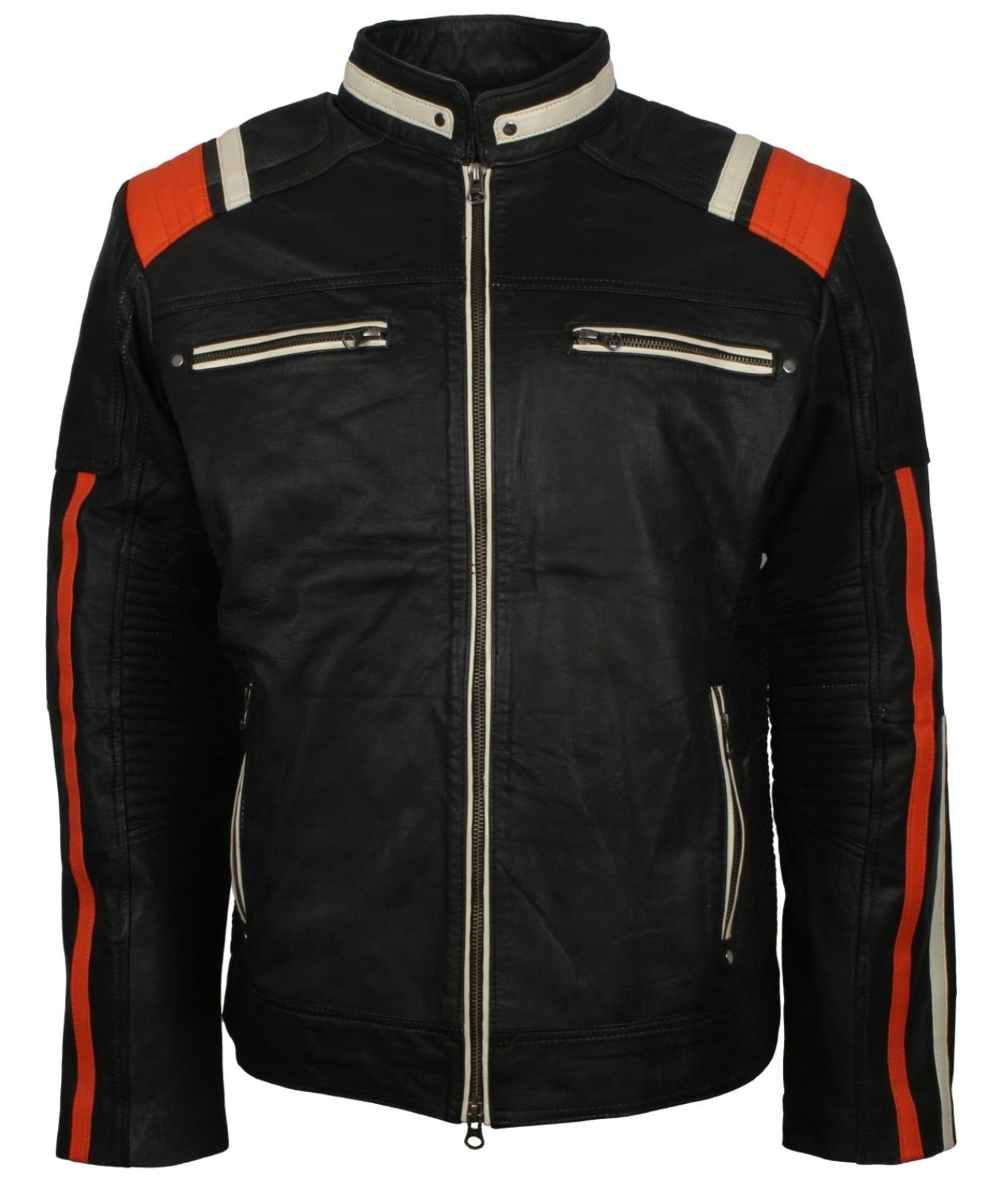 Mens Biker Leather Jacket wit Stripes